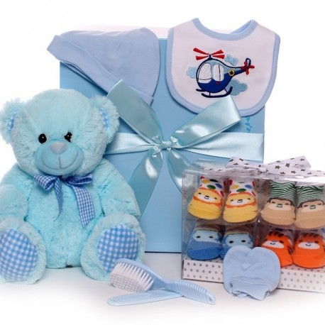 Gift Box With Soft Teddy And Baby Boy Gifts.
