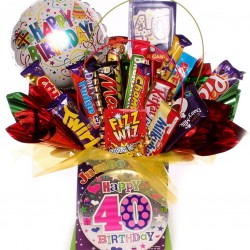 40th Chocolate Bouquet Birthday Gift With Balloon.