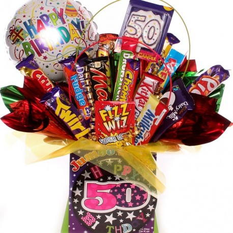 50th birthday chocolate bouquet with balloon