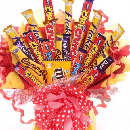 Large Chocolate Bouquet With A Mix Of Chocolate Bars.