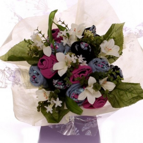 Ladies Sock Bouquet With White Lillies.