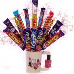 Girlie Mug With Nail Varnish Handle Chocolate Bouquets.
