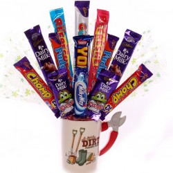 Gardening mug with chocolate bouquet.