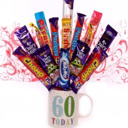 60th Birthday Mug With Chocolate Bouquet.
