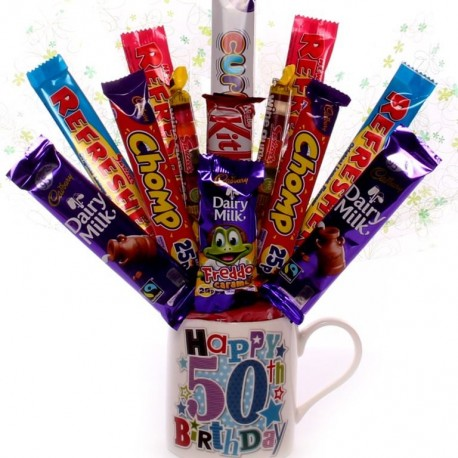 Happy 50th Birthday Mug with Chocolate Bouquet.