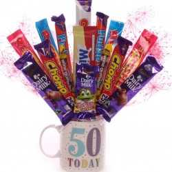 50th Birthday Mug With Chocolate Bouquet.