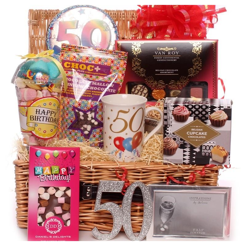 50th Birthday Gift Basket For Men: 50th Birthday Luxury Gift Hamper With Keepsake Gifts And