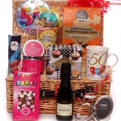 50th Birthday Hamper With Prosecco and Luxury Gifts.