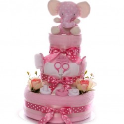 Elephant Nappy Cake Baby Girl Luxury Gift.