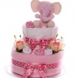 Elephant Nappy Cake Two Tiers Baby Girl.