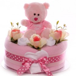 Nappy Cake Baby Girl Teddy One Tier.