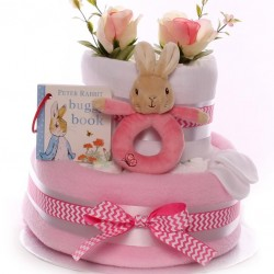 Flopsy and Peter Rabbit Nappy Cake Baby Girl