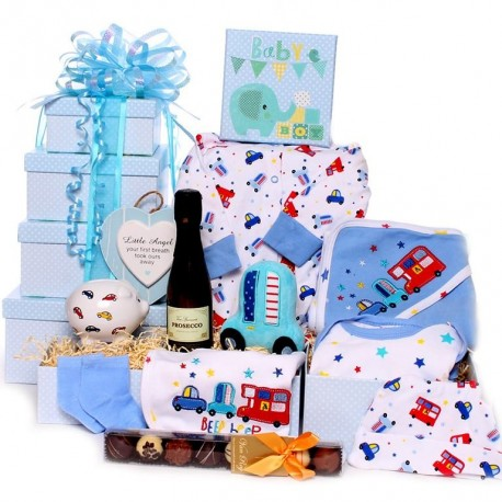 Baby Tower Gift Hamper With Prosecco and Truffles for his parents.