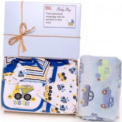 Personalised Baby Boy Gift Box - Digger Design