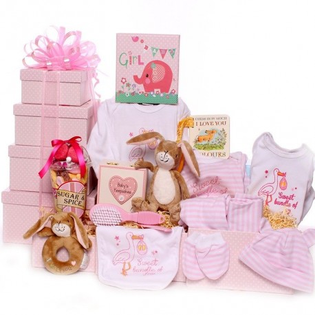 Large Baby Girl Gift Tower Hamper