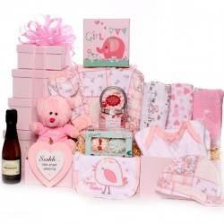 New baby girl hamper - large tower gift hamper