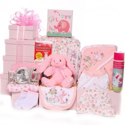 Baby Girl Hamper With Rabbit Design.