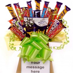 Bright and Cheerful Chocolate Bouquet with large selection of chocolates.