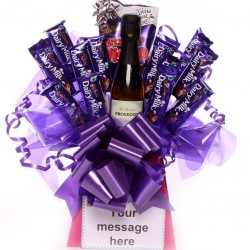 Prosecco and Cadbury's Chocolate Bouquet.