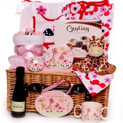 Giraffe Themed Baby Hamper Basket Girl