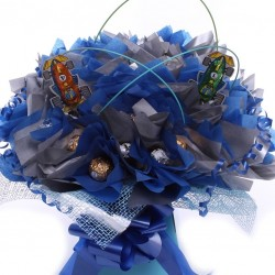Lindor Truffles and Ferrero Rocher Chocolate Bouquet With Chocolate Cars.