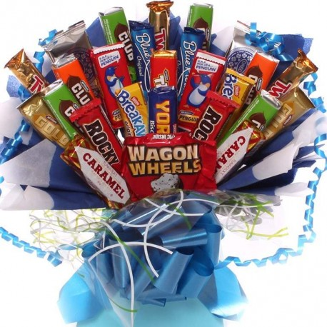 Biscuite Bouquet for Him, Blue themed biscuit bouquet