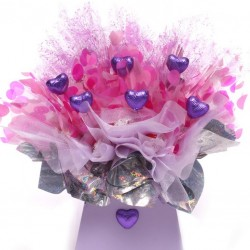 Lindor Chocolate Bouquet With Purple Milk Chocolate Hearts.