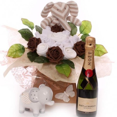 Champagne Baby Bouquet Gift Set With Elephant Gifts