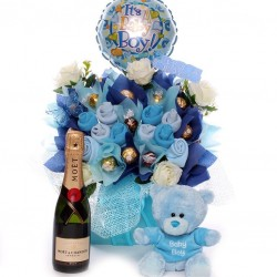 Champage Baby Clothing and Ferrero Rocher Bouquet with Teddy.