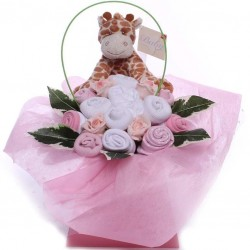 Baby bouquet baby girl gift with giraffe soft toy.