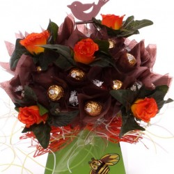Luxury Bouquet Of Ferrero Rocher And Lindor Chocolates With Bird Pick.