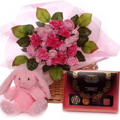 Baby bouquet gift basket, with baby bouquet, soft rabbit and box of chocolate.