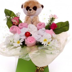 Baby bouquet with Meerkat toy baby girl gift.