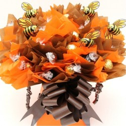 Ferrero Rocher And Lindor Chocolates Bouquet With Milk Chocolate Bees.