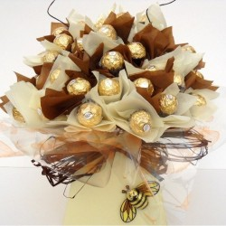Luxury Ferrero Rocher Bouquet With Milk Chocolate Bee.