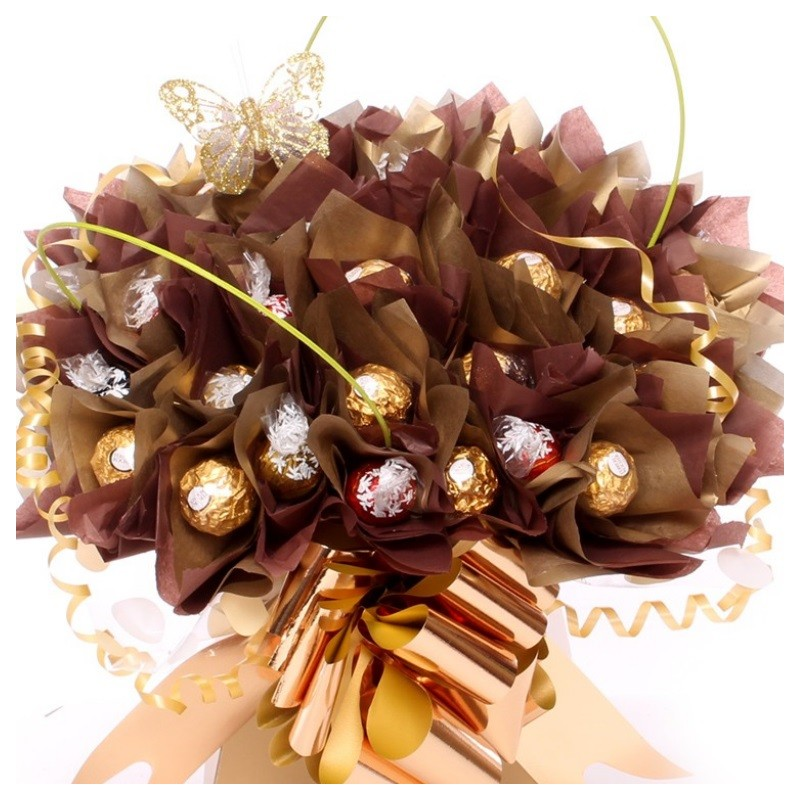 Lindor and Ferrero Rocher Bouquet In Gold And Brown   Chocolate Florist