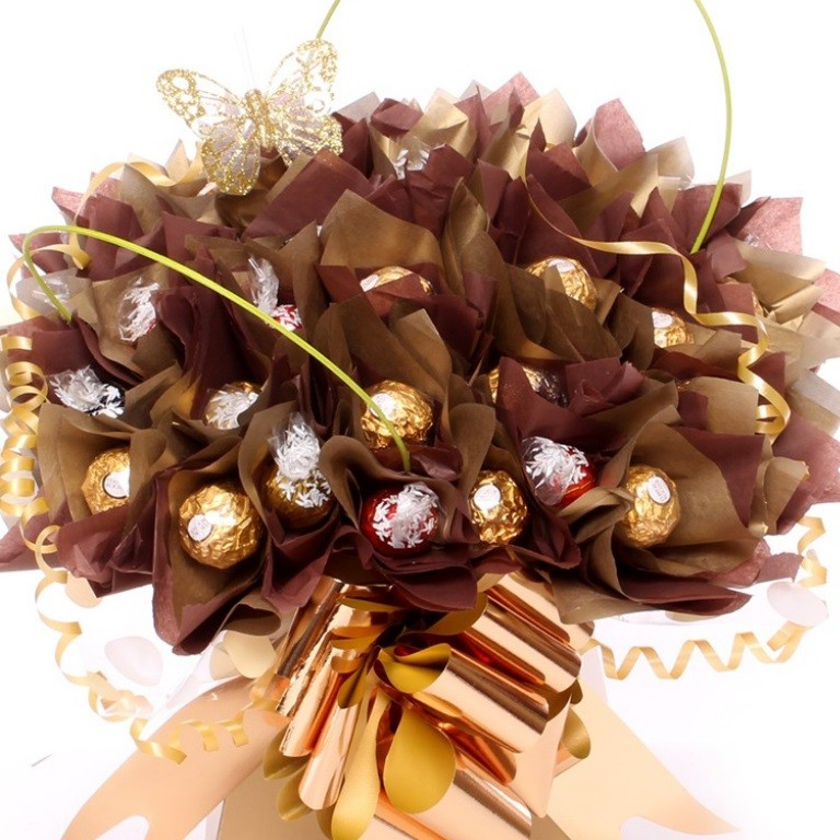 Lindor and Ferrero Rocher Bouquet In Gold And Brown | Chocolate Florist