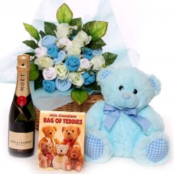 Champagne Baby Gift Basket Baby Clothing Bouquet Teddy and Chocolates