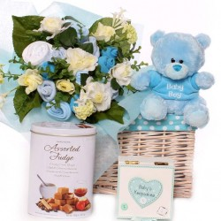 Gift Basket Baby Bouquet, Teddy, Keepsake Box and Fudge for Parents.
