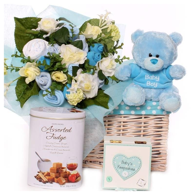 Baby Gifts For The Parents : Baby boy bouquet gift basket with teddy keepsake box