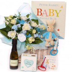 Gift basket baby bouquet with Peter Rabbit baby gifts.
