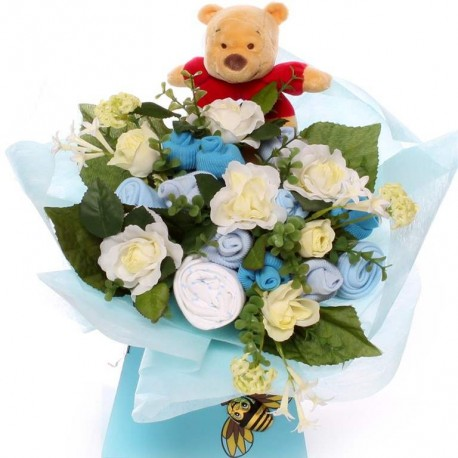 Baby Bouquet with Winnie The Pooh Soft Rattle.
