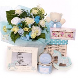 Baby gift basket with Baby Bouquet baby boy gift.