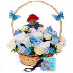Paddington Bear Baby Bouquet Gift Basket With Soft Toy and Buggy Book.