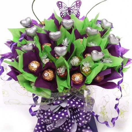 Lindor And Fererro Rocher Chocolate In Purple and Green.