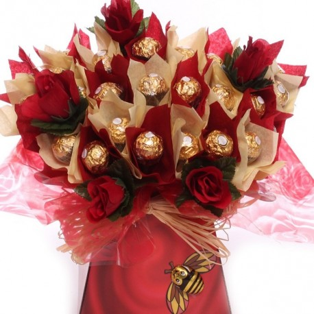 Ferrero Rocher Bouquet With Red Silk Flowers.