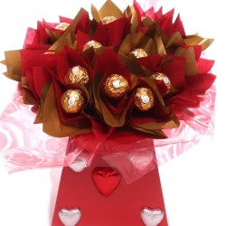 Ferrero Rocher Bouquet With Chocolate Hearts.