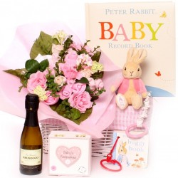 Peter Rabbit baby bouquet gift basket for a baby girl.
