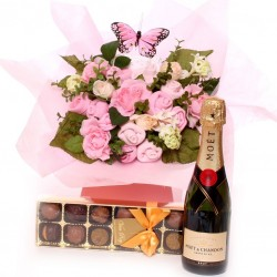 Baby Bouquet With Champagne And Truffles.