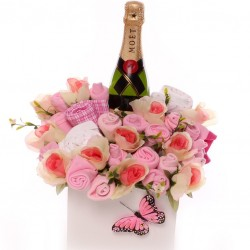 Champagne baby bouquet gift for new baby girl and her parents.
